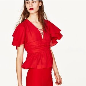 Zara Ruffle Sleeve Blouse